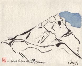 Sainte Victoire aquarelle de F. Gilly